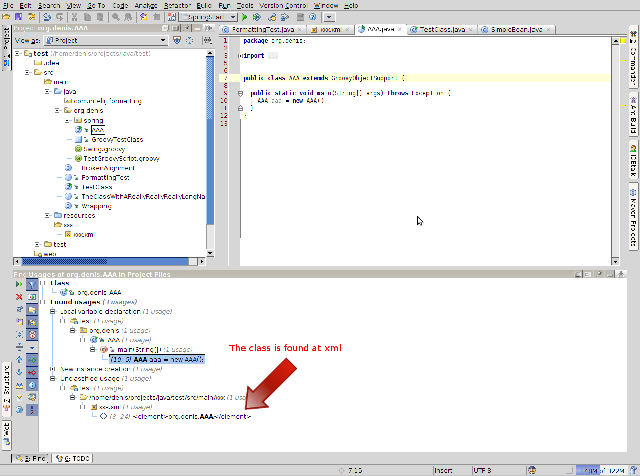 idea-referencing-class-at-xml-find-usages.png