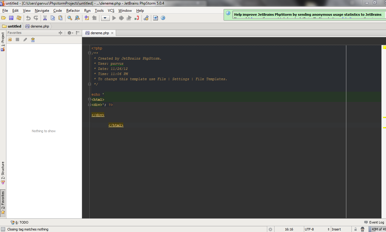 Html tag analyze errors between php codes – IDEs Support (IntelliJ ...