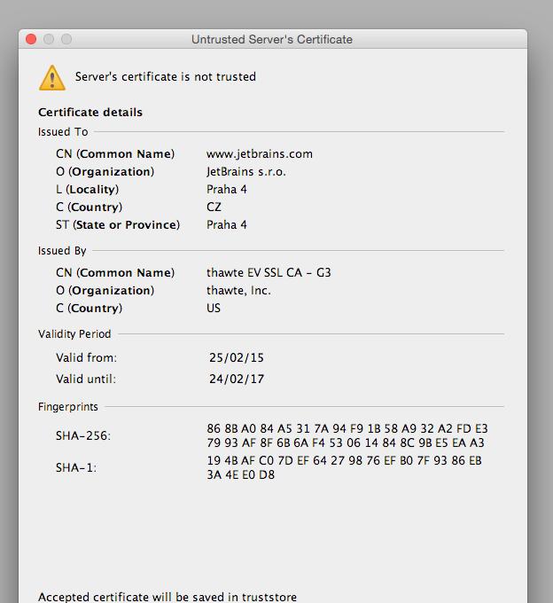 Server ssl certificate rejected intellij