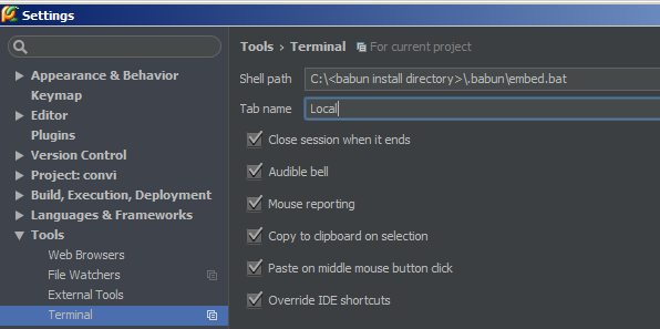 Terminal] - How to integrate with babun/cmder – IDEs Support