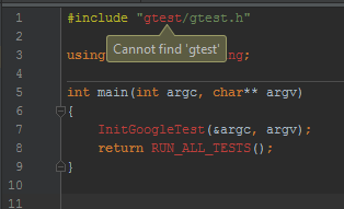 CLion GTest Header Problem.png