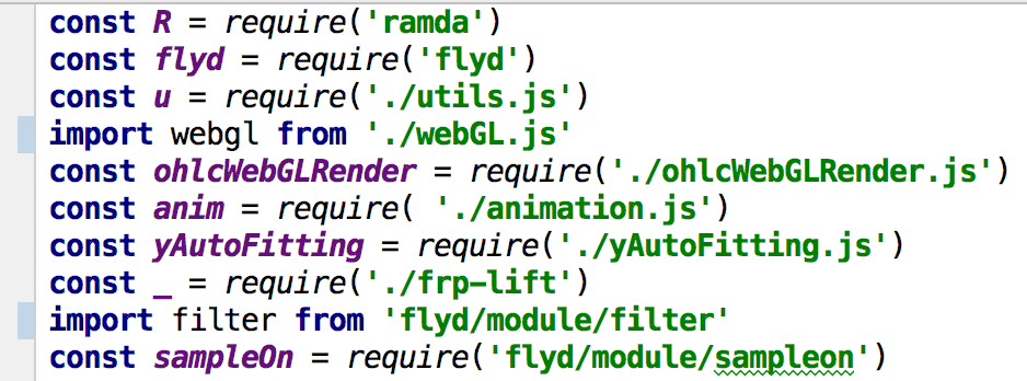 import from' doesn't work as well as 'require' for autocompletion