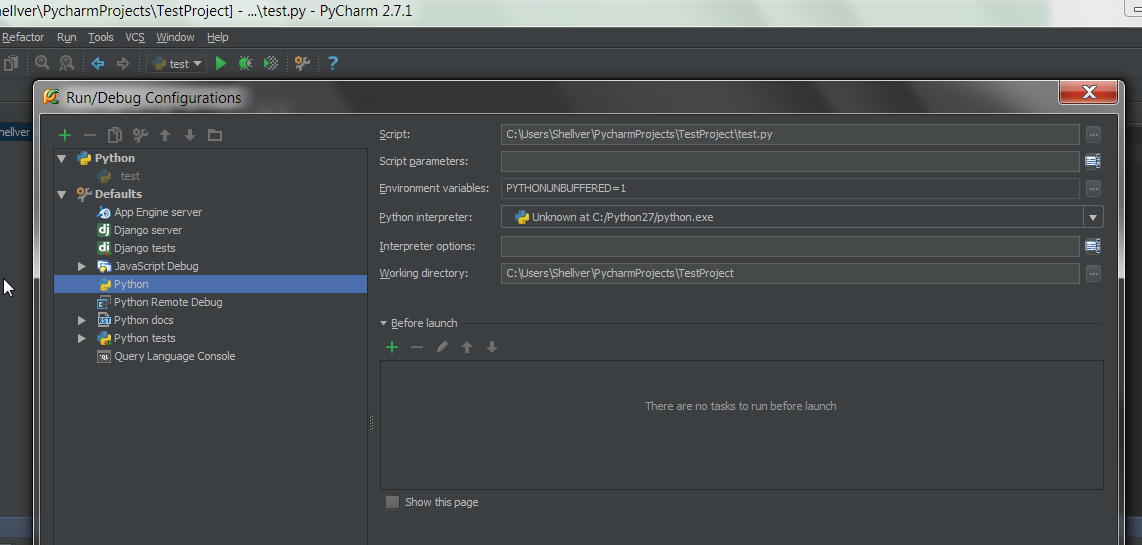 Why can't I run a script in PyCharm, when I can debug it? I
